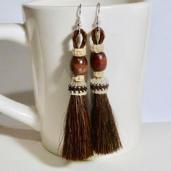 Brown Horse Hair Tassel Earrings, Cowgirl Jewelry,  Horse Lover Equestrian Gifts