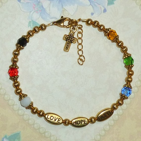 Gold Plated Beaded Love Hope Faith Salvation Bracelet