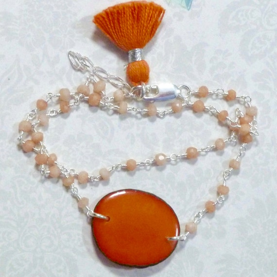 Orange Chalcedony Gemstone and Tagua Nut Slice Sterling Silver Double Wrap Rosary Chain Tassel Bracelet