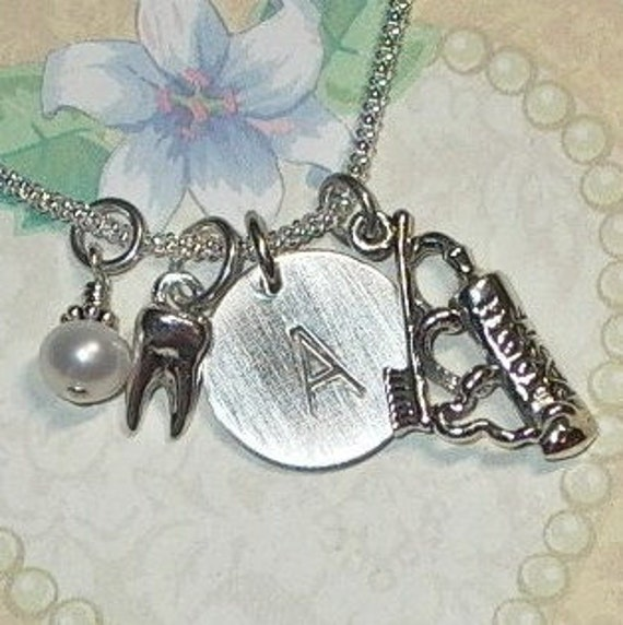 Dentist's Dental Hand Stamped Sterling Silver Initial Toothbrush Toothpaste Charm Necklace