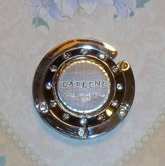 Personalized Hand Stamped Folding Purse Holding Hanger