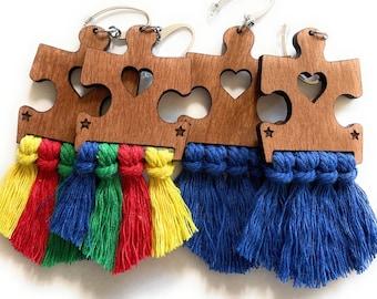 Autism Awareness Wood Puzzle Piece Macrame Fringe Earrings - Choose Multi-colored or Blue Tassels