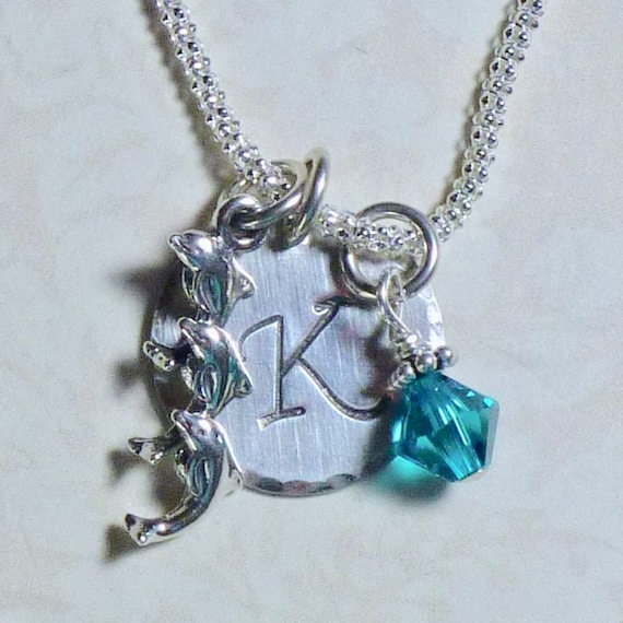 Personalized Three Jumping Dolphins Hand Stamped Sterling Silver Initial Charm Necklace