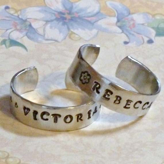 "Personalized Hand Stamped Aluminum Doll Cuff Bracelet - 1/4"" wide - For 18"" Dolls"