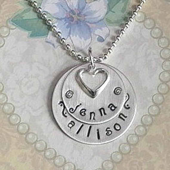 Personalized Hand Stamped Sterling Silver Mothers Celebration Double Circle Name Necklace