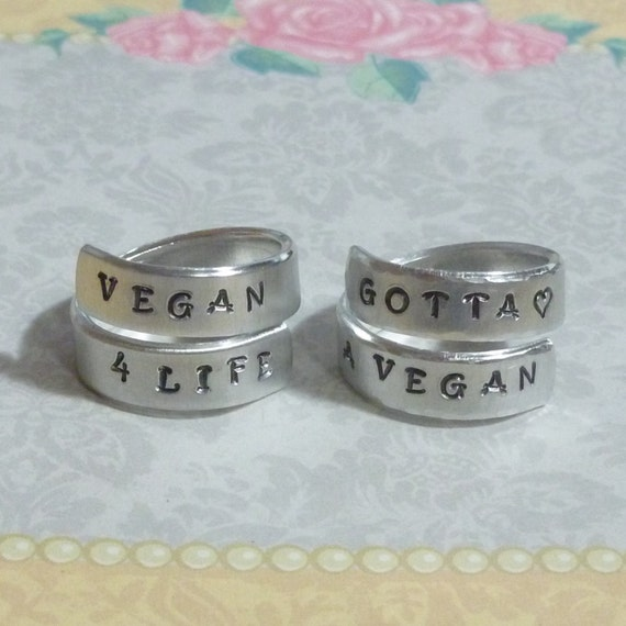 Vegan Hand Stamped Aluminum Wrap Ring