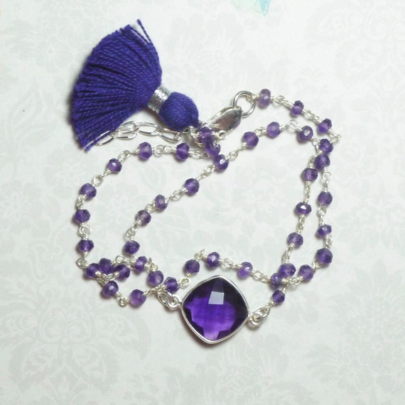 Amethyst Double Wrap Rosary Chain Purple Tassel Bracelet