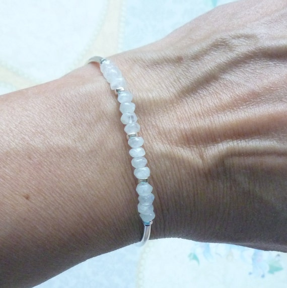 Natural Moonstone Gemstone Sterling Silver Beaded Adjustable Curved Tube Bracelet