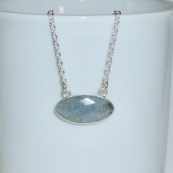 Natural Labradorite Gemstone Pendant Necklace