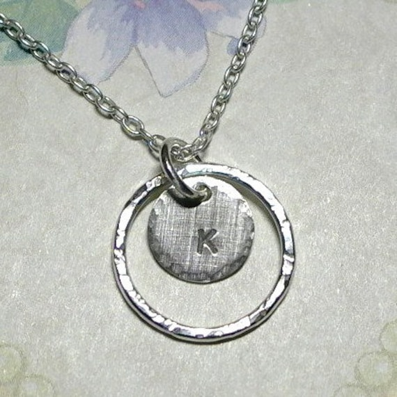 Argentium Sterling Silver Hand Stamped Initial Eternity Ring Necklace