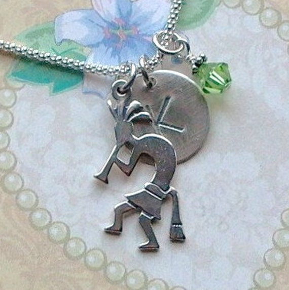 Personalized Kokopelli Hand Stamped Sterling Silver Initial Charm Necklace
