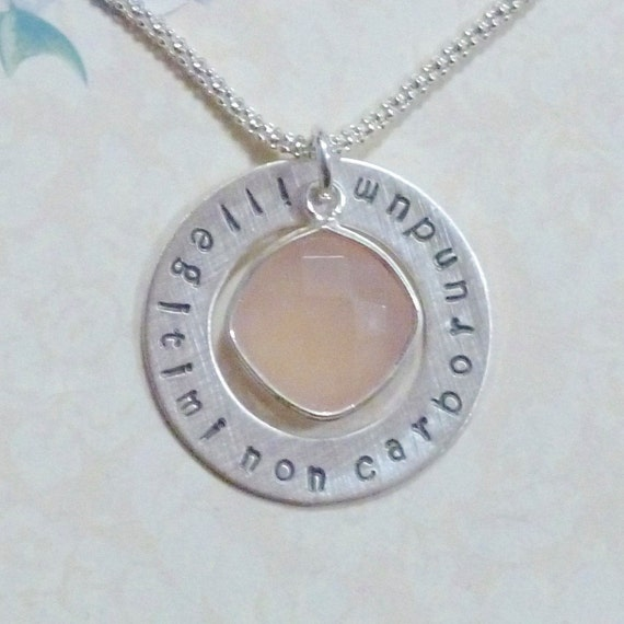 Illegitimi Non Carborundum Hand Stamped Sterling Silver Latin Phrase Washer Necklace with Pink Chalcedony Quartz Gemstone