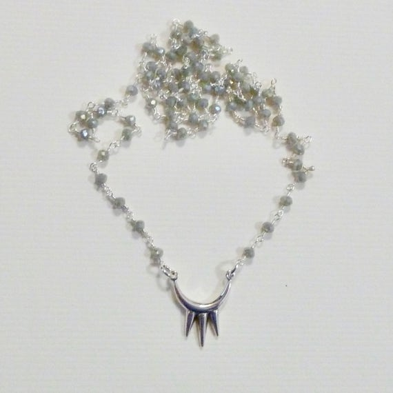 Geometric Triple Spike Labradorite Gemstone Rosary Chain Necklace