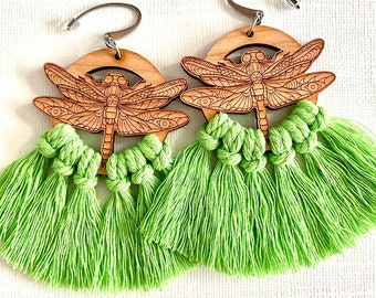 Wooden Dragonfly Lime Green Macrame Fringe Earrings