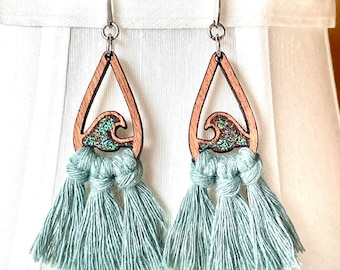 Ocean Wave Macrame Tassel Earrings