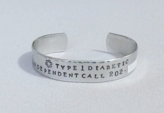 Personalized Medical Alert Hand Stamped Wide Aluminum Cuff Bracelet