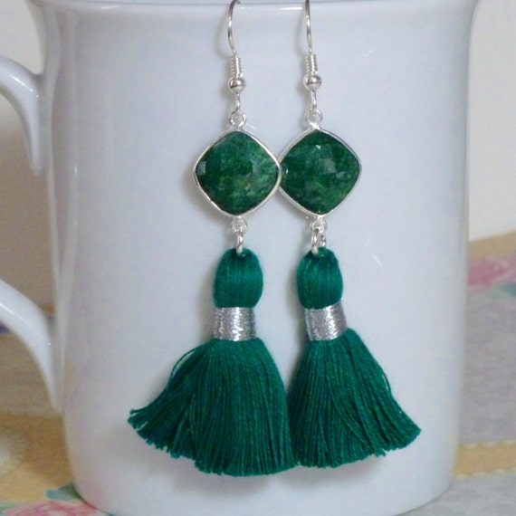 Natural Emerald Gemstone Tassel Earrings