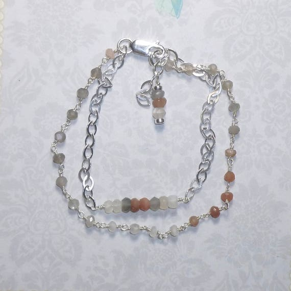 Double Strand Ombre Multi Moonstone and Sterling Silver Bracelet