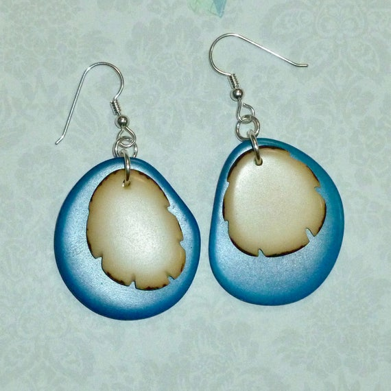 Sterling Silver Turquoise and Natural Tagua Nut Earrings
