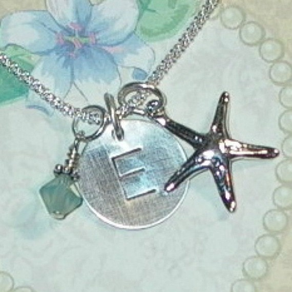 Personalized Starfish Hand Stamped Sterling Silver Initial Charm Necklace