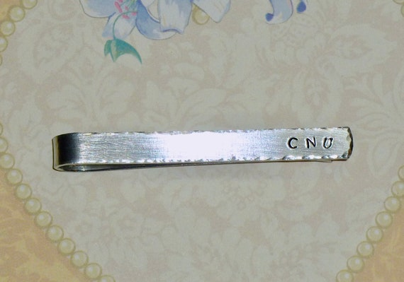Personalized Hand Stamped Aluminum Monogram Tie Bar