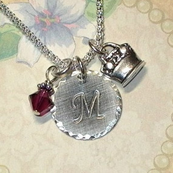 Personalized Purse Hand Stamped Sterling Silver Initial Charm Necklace