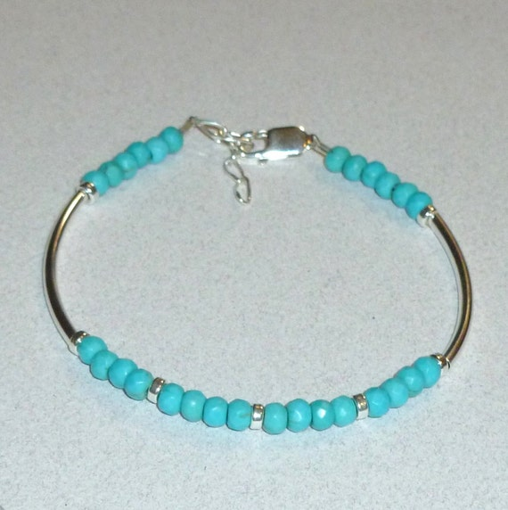 Turquoise Magnesite Gemstone Sterling Silver Curved Tube Bracelet
