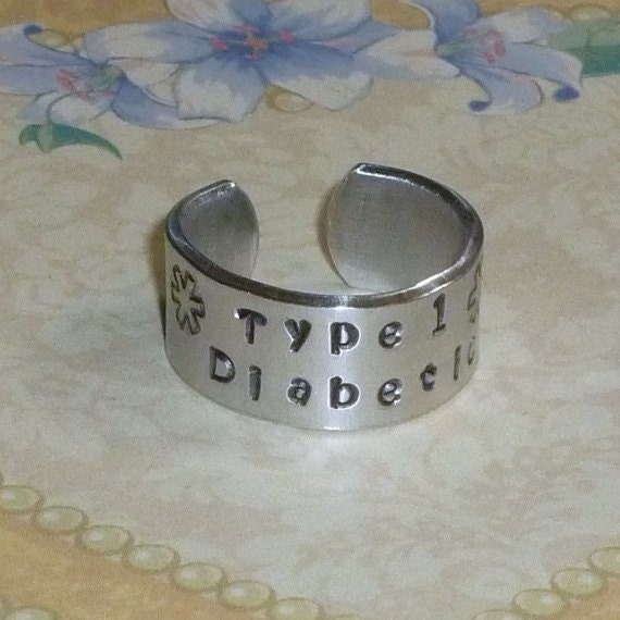 Medical Alert Personalized Hand Stamped Aluminum Wide Band Ring