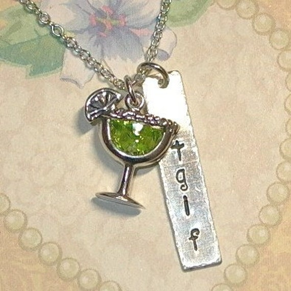 TGIF Hand Stamped Sterling Silver Margarita Necklace with Cubic Zirconia