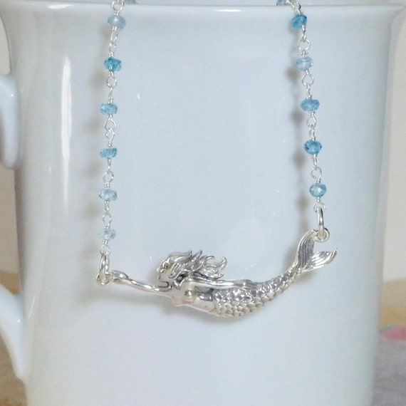 Mermaid Blue Topaz Gemstone and Sterling Silver Rosary Chain Necklace