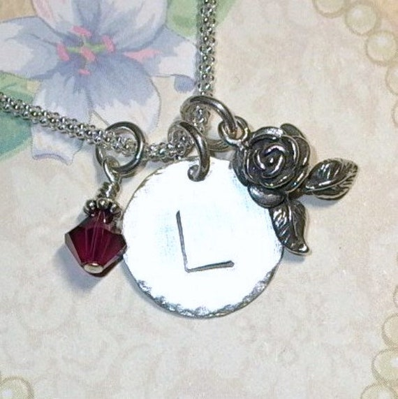 Personalized Rose Flower Hand Stamped Sterling Silver Initial Charm Necklace