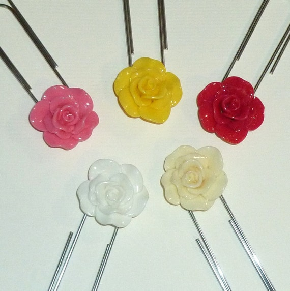 Rose Planner Clip - Jumbo Rose Flower Paper Clip Bookmark - Planner Paper Clip You Choose Color - Red, Yellow, Pink, White or Ivory