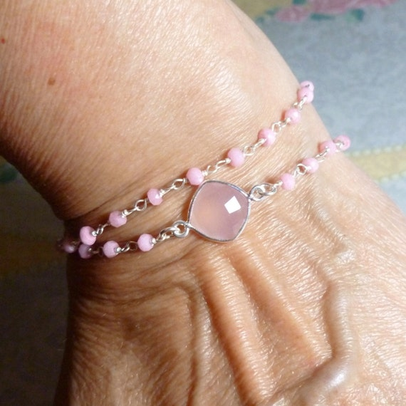 Double Wrap Rose Chalcedony Quartz Gemstone Pink Tassel Bracelet