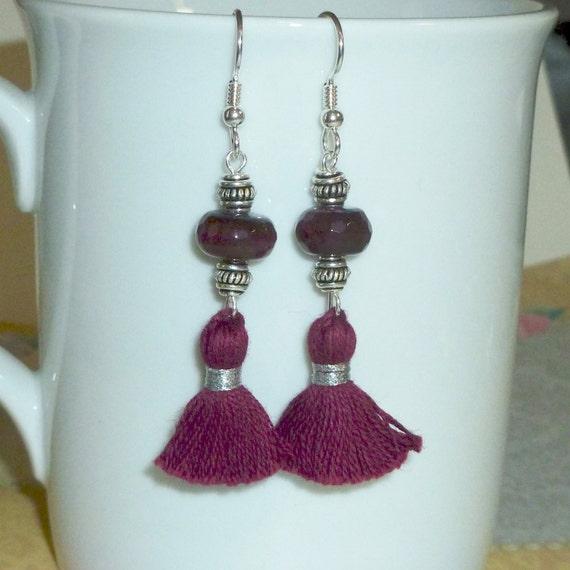 Burgundy Agate Gemstone Tassel Earrings