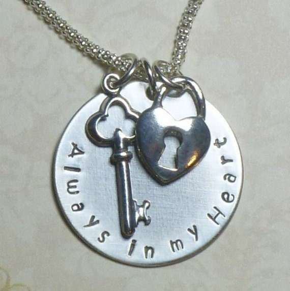 Always in my Heart Necklace Hand Stamped Sterling Silver Lock and Key Charm Necklace