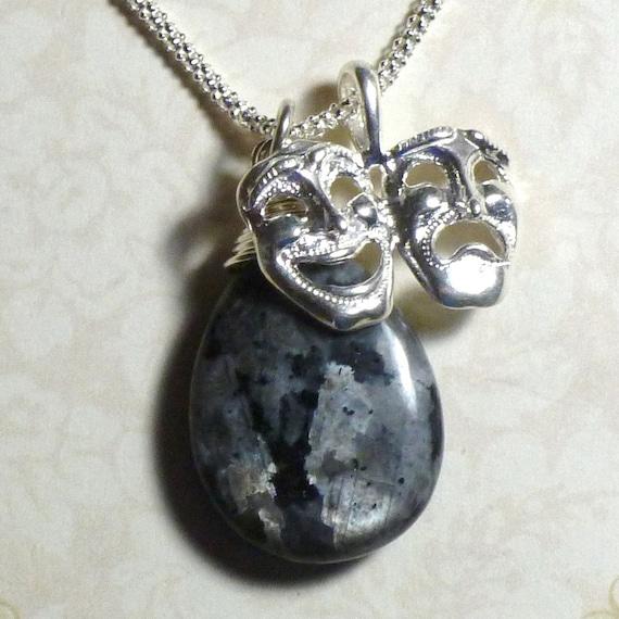 Comedy Tragedy Drama Mask Black Labradorite Gemstone Briolette Hand Stamped Sterling Silver Charm Necklace