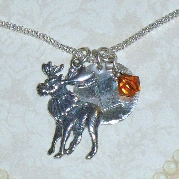 Personalized Moose Hand Stamped Sterling Silver Initial Charm Necklace