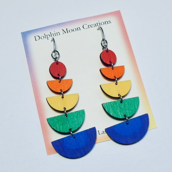 Long Hand Painted Laser Cut Wooden Semicircle Rainbow Earrings