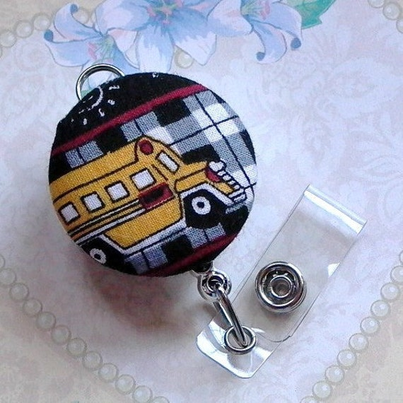 School Bus Fabric Button Retractable ID Badge Holder Keychain