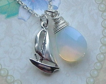 Sailboat Necklace, Sterling Silver Sailboat Charm Necklace, Sailboat Jewelry, Sailing Gift