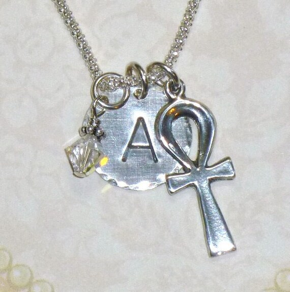 Egyptian Ankh Hand Stamped Sterling Silver Initial Charm Necklace