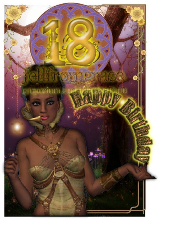 Printable Stunning Steampunk 18th Birthday Card Instant