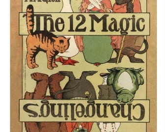 """Printable Fantastic early 20th century nursery rhyme paper toys to make book, """"The 12 Changelings"""", PDF as Zipfiles"""