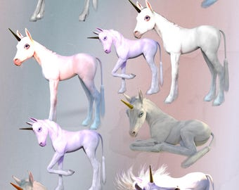 Beautiful printable baby Unicorn transparent  HiRes .png overlays, 9 separate files in various colours and poses to download