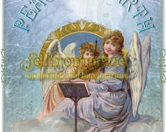 Printable Vintage collaged Christmas Angel Peace on Earth card  - Instant download