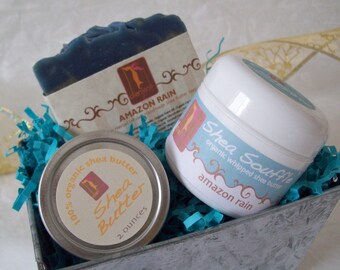 Soap Gift Basket Tin with Amazon Rain organic soap, Organic whipped body butter and pure shea butter tin