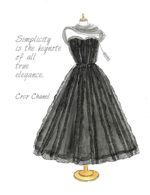 Chanel Dress Watercolor Fashion Illustration Fashion ...