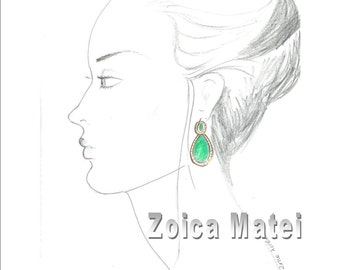 Profile pencil sketch print girl with emerald earrings, portrait  hand drawing, girls room decor, custom sketch