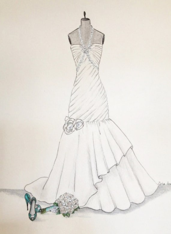 Custom wedding dress sketch wedding gown bouquet and shoes | Etsy
