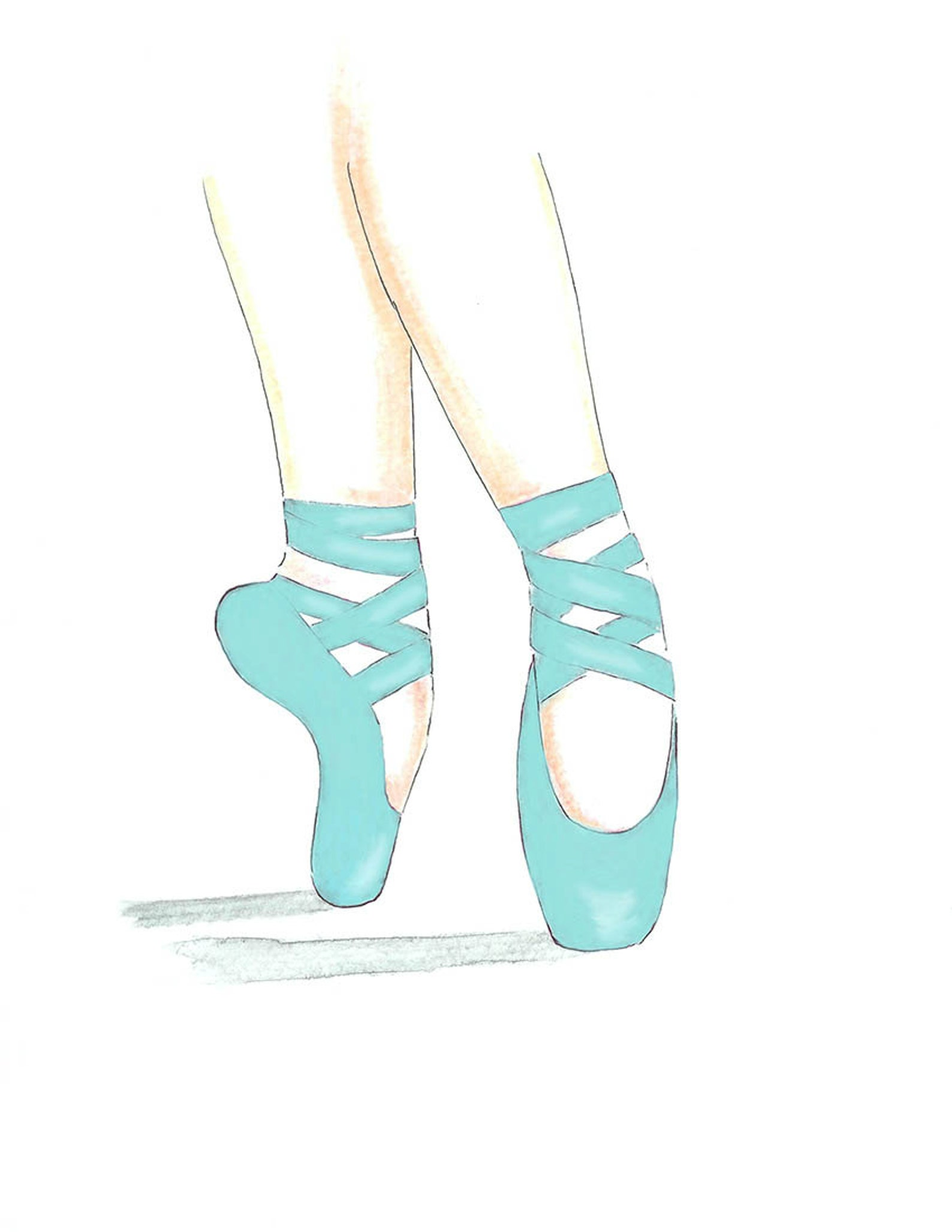 watercolor ballet pointe toe teal shoes illustration, ballerina slippers girl teal bedroom print, tween wall art